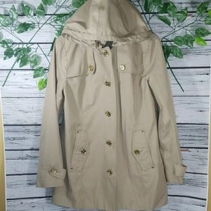 Michael Kors gold button down hooded trench coat
